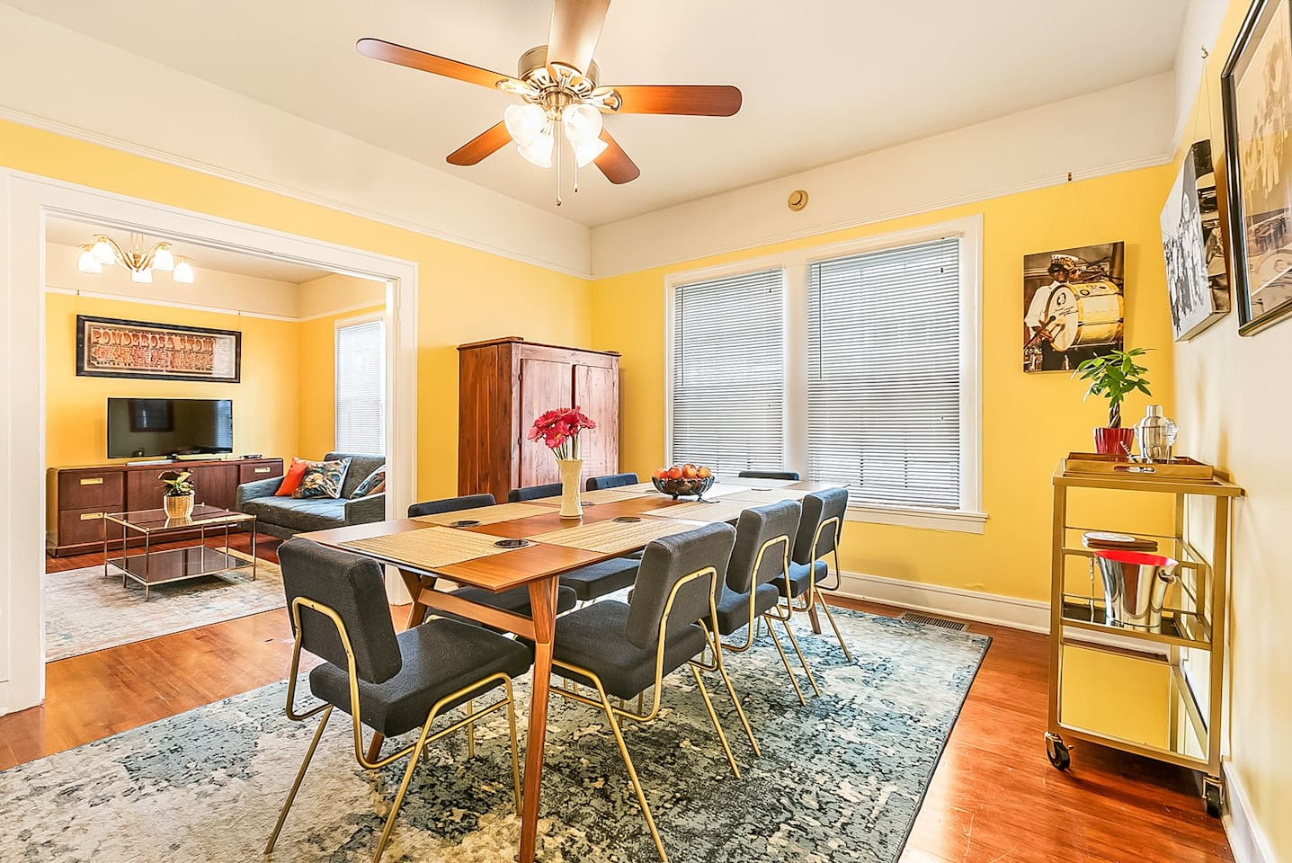 Large dining room flows into living room
