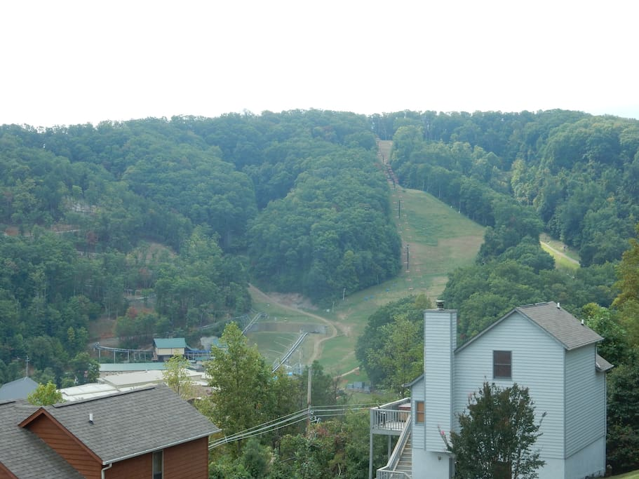 View of ski slopes from our balcony.