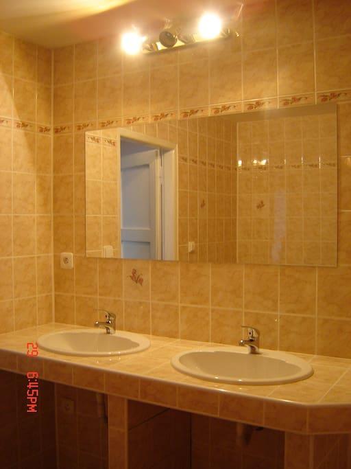 Samostatná koupelna patřící k dvoupokojovému apartmánu s toaletou.