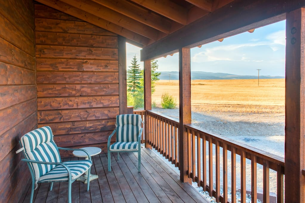You'll love sitting on the porch and watching for frequent wildlife visitors like moose, elk, swans, cranes, and more.