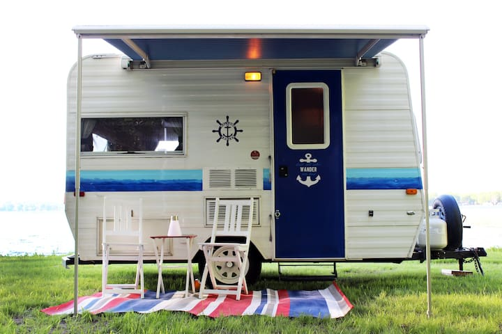 Cozy camper trailer on Lake Simcoe