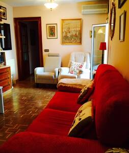 APARTMENT LOCATED 5 MIN FROM METRO STATION AND 10 FROM BARAJAS AIRPORT AND 2 MIN FROM AIRPORT BUS STOP. IT IS PERFECT FOR LONG STOPOVERS AND REST AFTER LONG FLIGHTS. SITUATED VERY CLOSE TO A COMERCIAL AREA. PLENTY RESTAURANTS AND TERRACES AROUND.