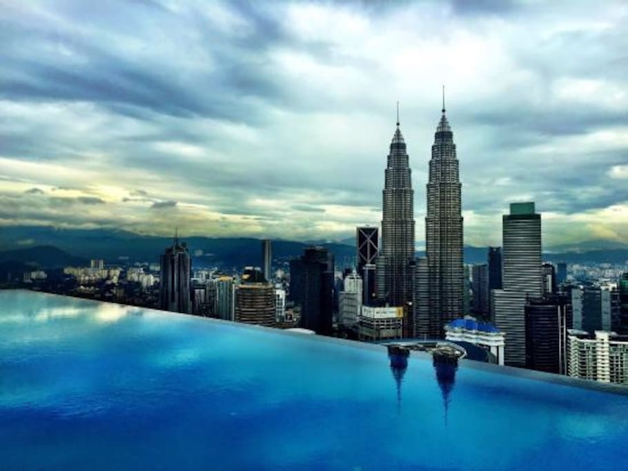 The infinity pool located on the 51st floor offers panoramic views of the Kuala Lumpur's skyline.