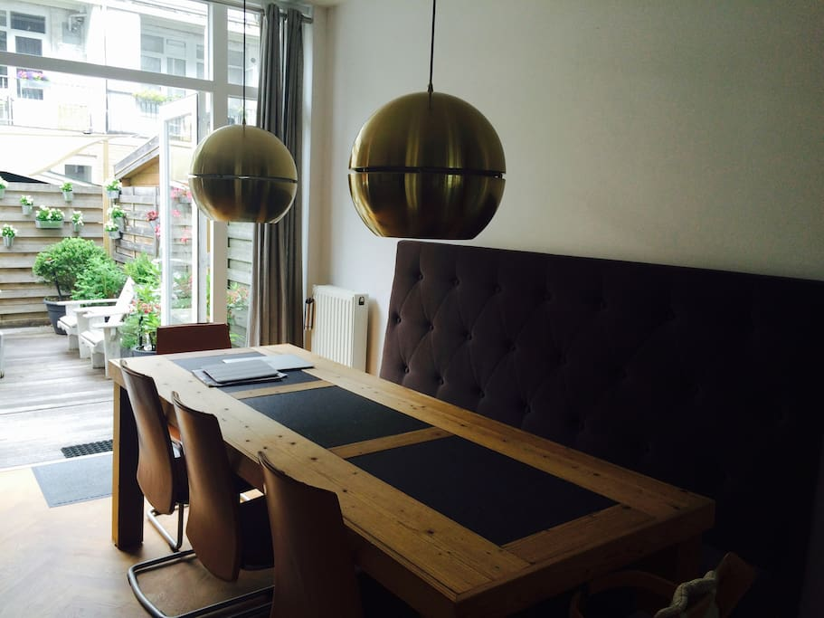 The dining area and the garden