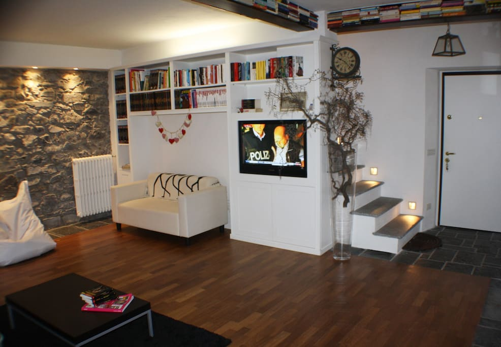 Spacious living with TV