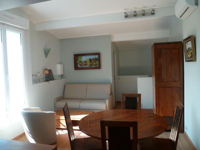 Le salon/salle à manger meublé avec des meubles en acacia massif. Un canapé-lit avec un très bon matelas de 23 cm d'épaisseur pour 2 personnes supplémentaires.
