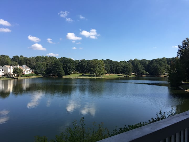 Lake view condo with office and walkability