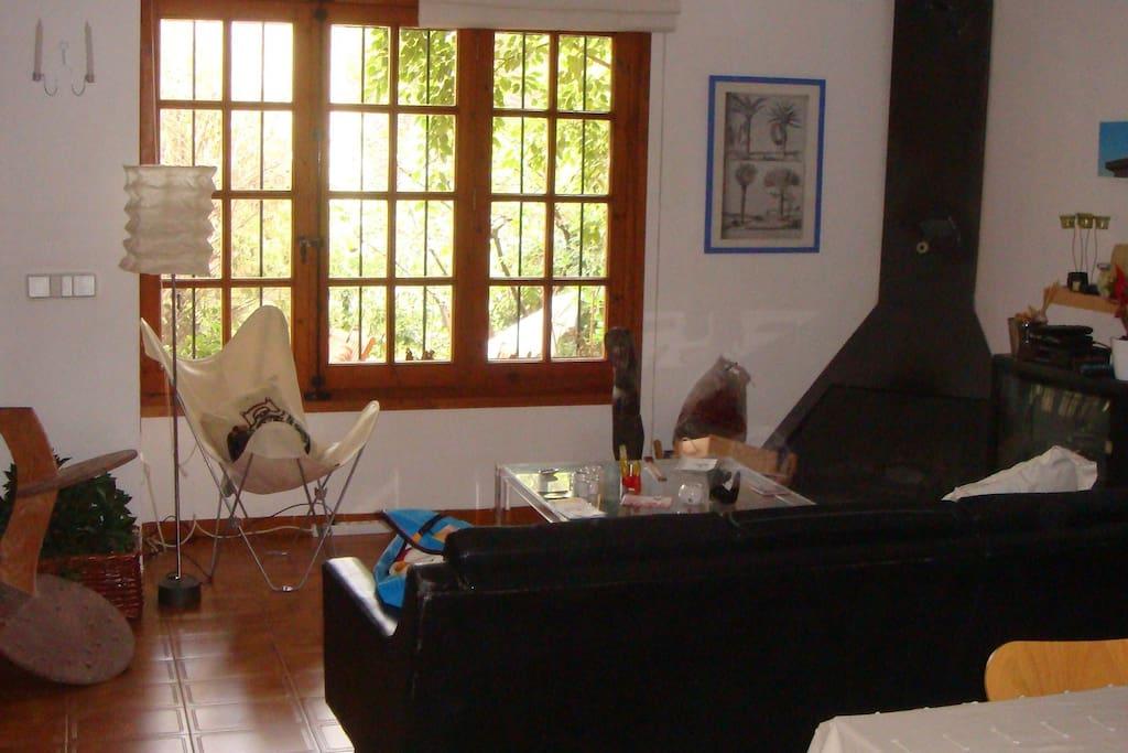 Un encantador jardincito privado através de la ventana