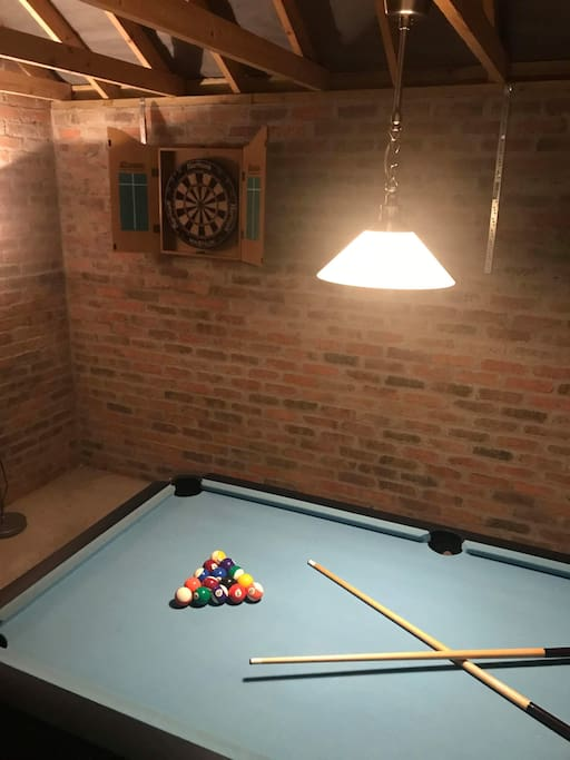 Games room in the detached garage.