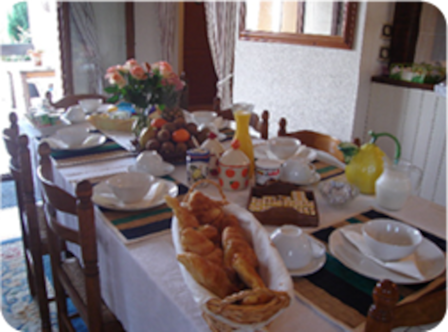 Our delicious breakfast includes fresh fruit home made preserves and freshly baked croissant