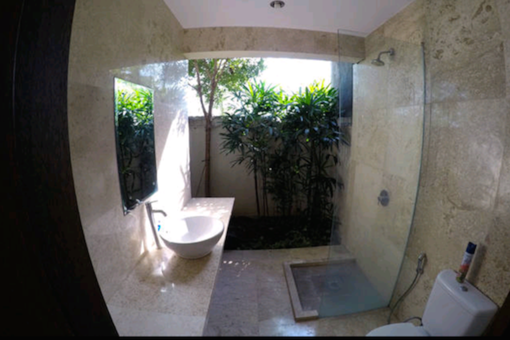 Poolside King rooms have indoor / outdoor ensuite with a toilet and shower