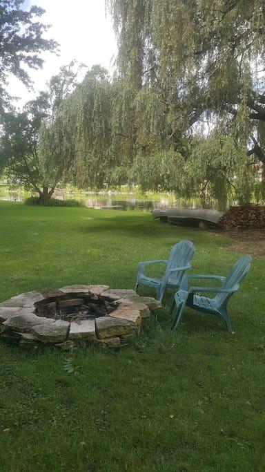 Firepit in backyard.