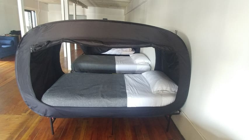 Bed 6-Single Canopy Bed in Shared Hollywood space