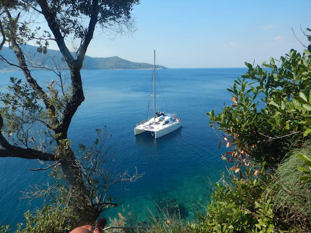 Sailing Catamaran in North Aegean, Limnos, Thassos