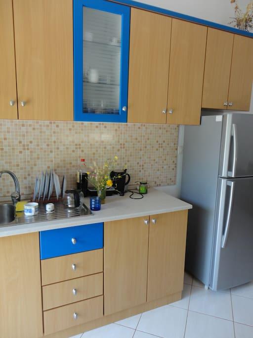 kitchen and fridge