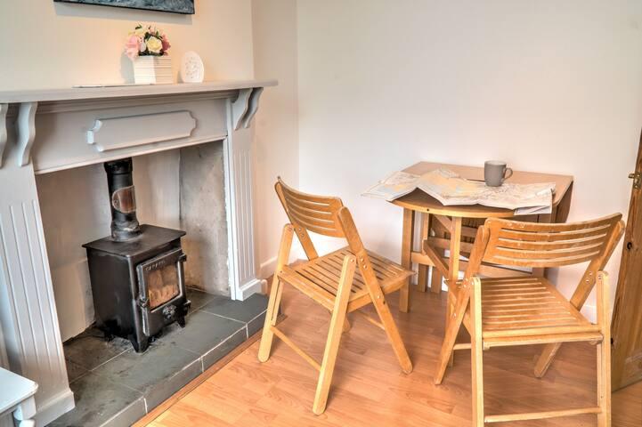 Living room with decorative log-burner