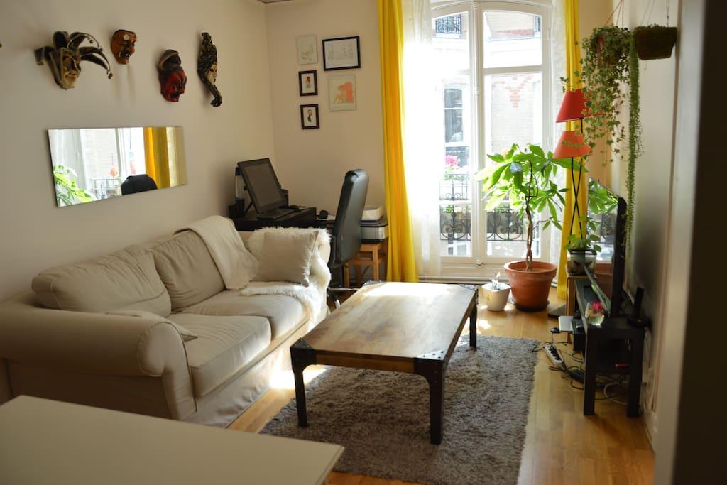 Le salon: canapé confortable et convertible, coin salle à manger, télé, wifi.