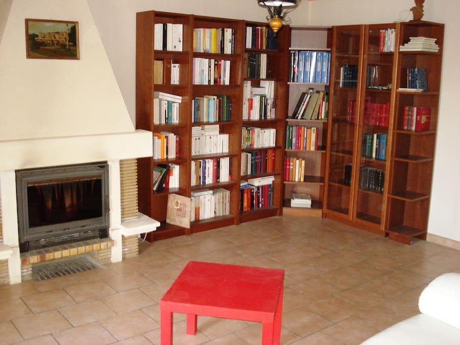 Bureau et bibliothèque avec livres à disposition