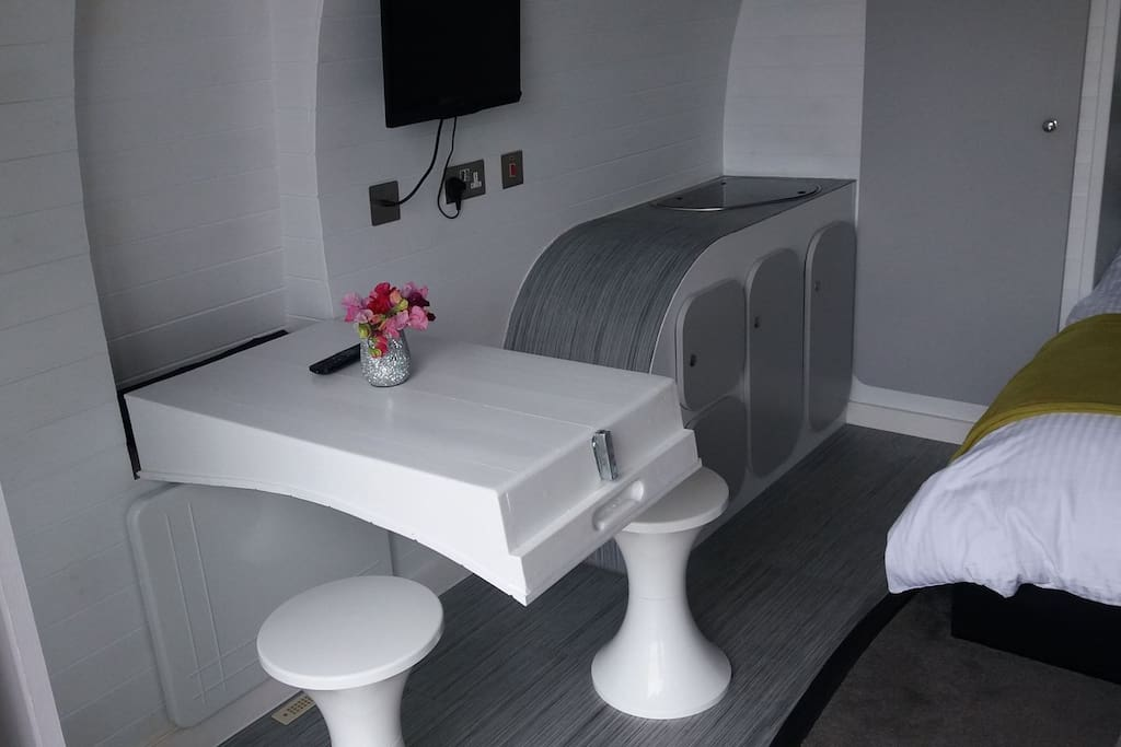 Dining area in your luxury clamping pod