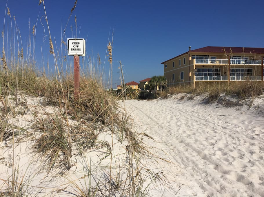 Just steps from beautiful white sand of Gulf!!