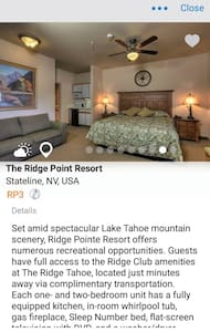 Lake Tahoe moutain resort studio