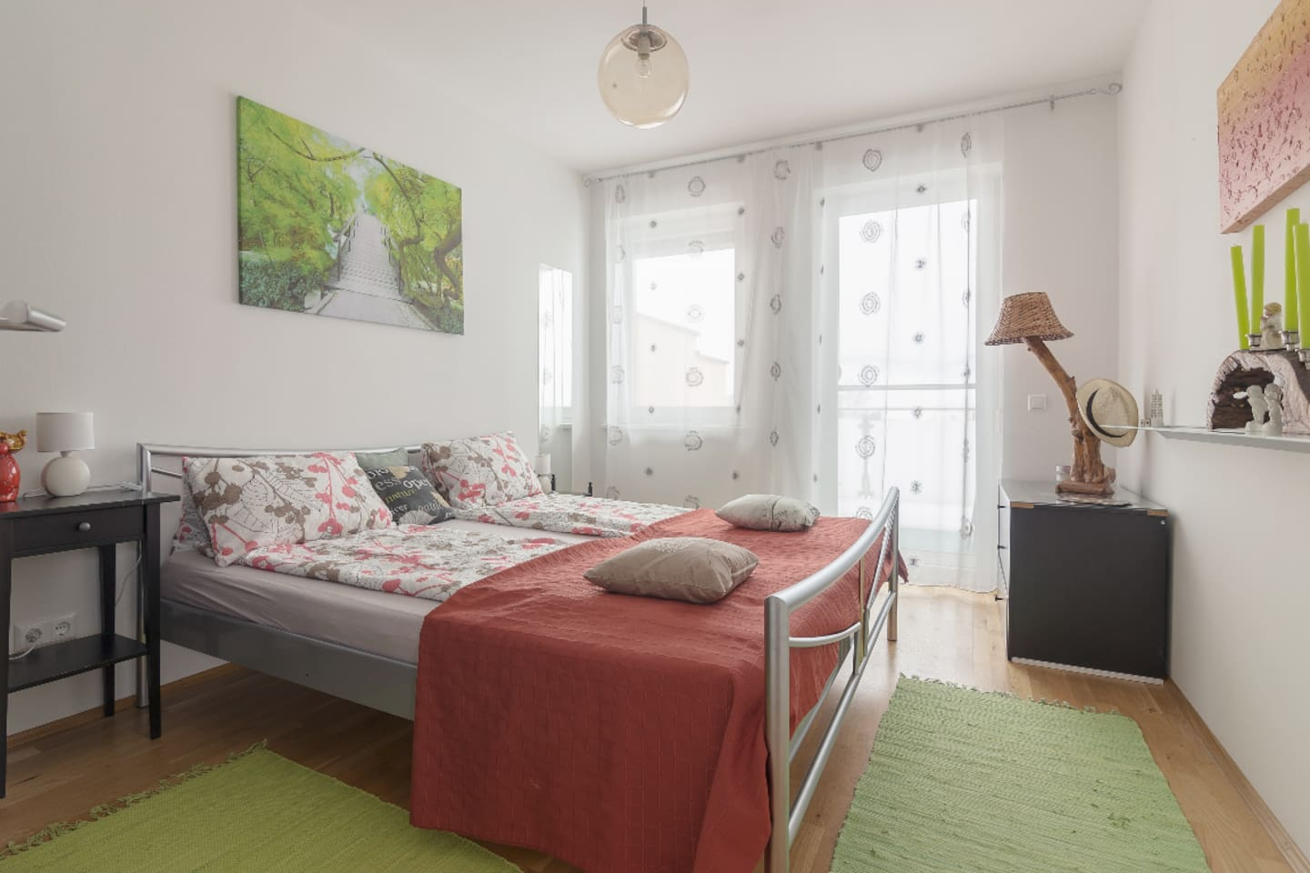 First comfy dormitory with spacious double-bed and own balcony. Very bright, nice looking room.