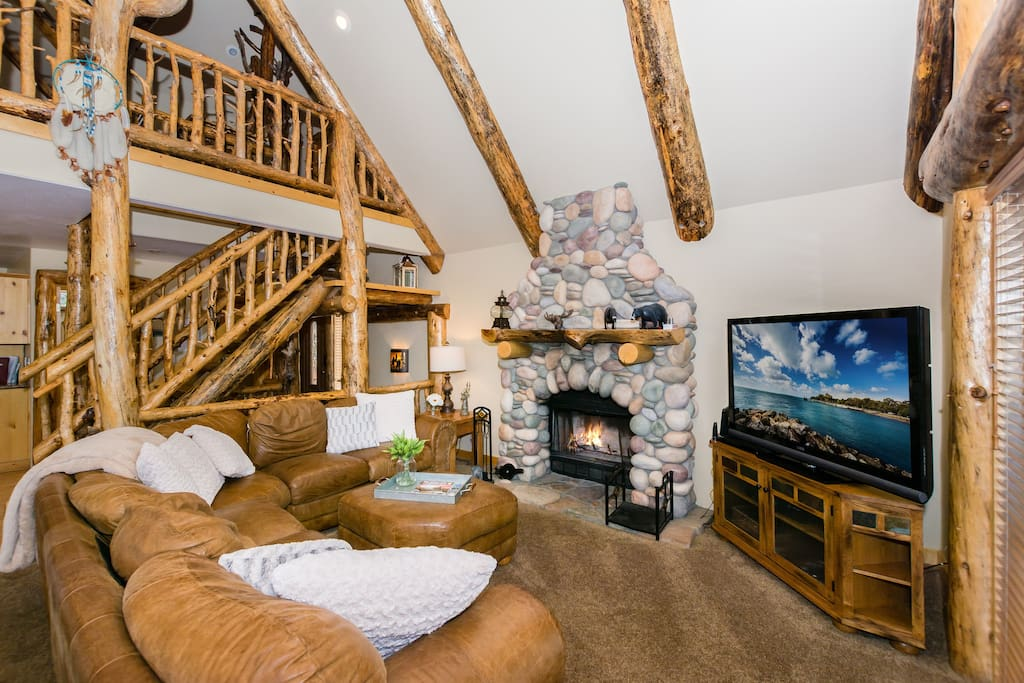 Great Room with Real Wood Burning Fireplace