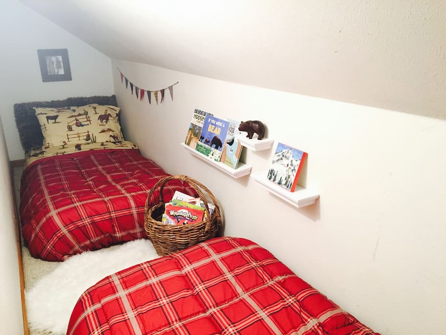 Sleeping nook with 2 twin beds, located off of the upstairs bedroom.