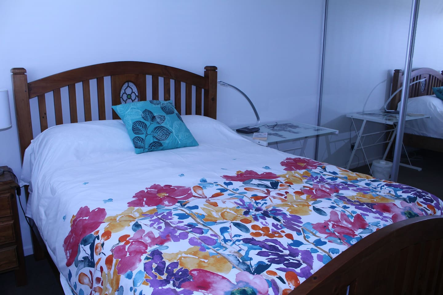 Comfy double bed with brand new sheets and pillows