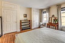master bedroom: King bed and two empty closets for your things