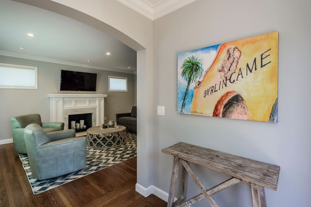 Our entryway. The home is decorated with canvas watercolors painted by local Burlingame artist Dale Perkins.