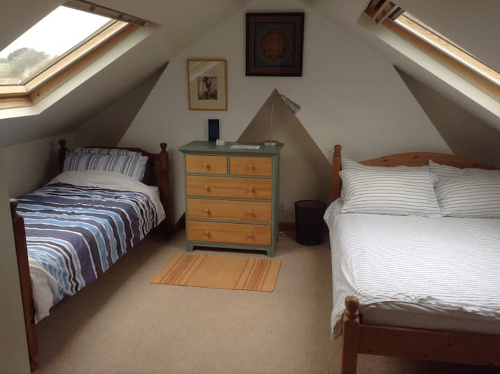 Quiet light loft room 5 mins walk to Totnes centre