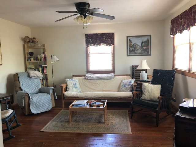 Spacious living room with futon for third sleeping option