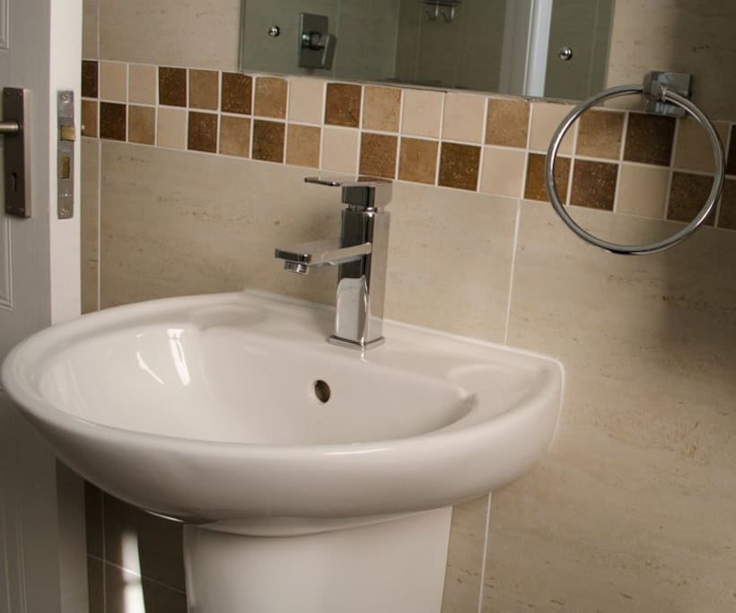 First bathroom. Bath and shower