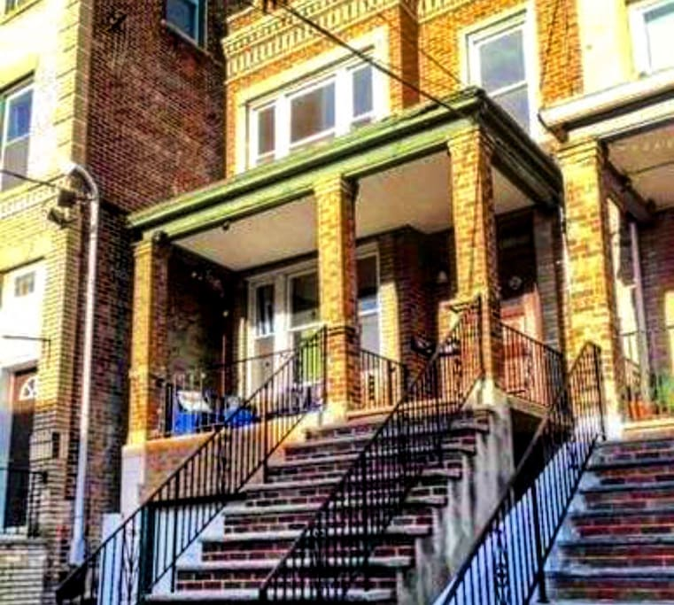 Classic Historic Brick row house with  front steps just like the one from Sex and the City - Breathtaking view of the skyline from your front steps