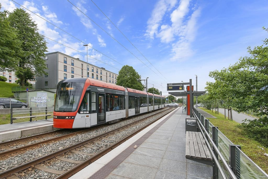 Tram station located 2 min from the apartment. This will take you to the airport and the city centre.
