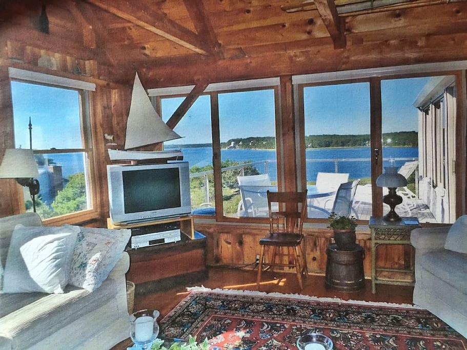 Stunning water views from main living area. New flat screen HDTV