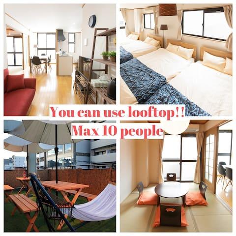 No cleaning fee!Family house!Same price  3ppl! Near Hakata