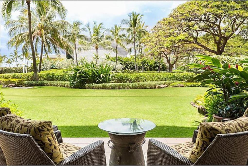 Ample green space outside your lanai.