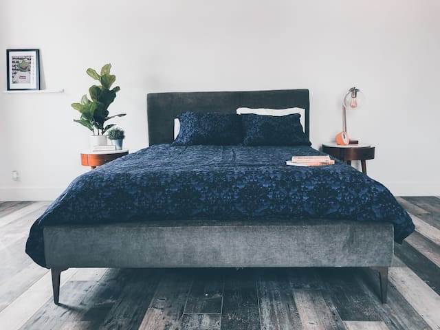 The bedroom space.