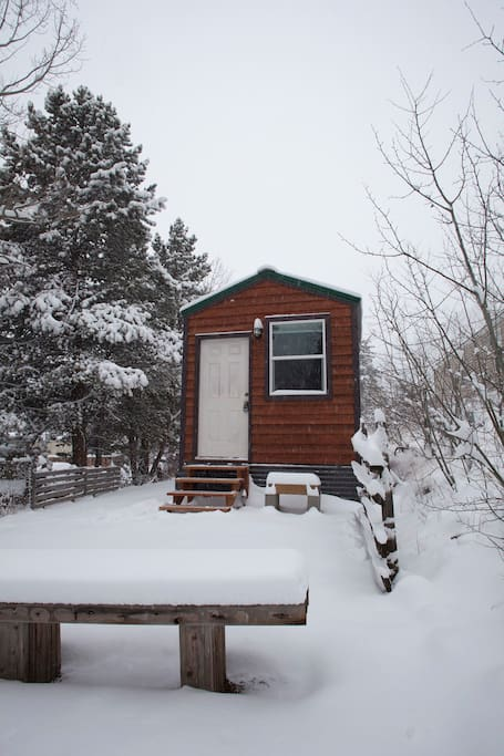 January snow at the tiny house.