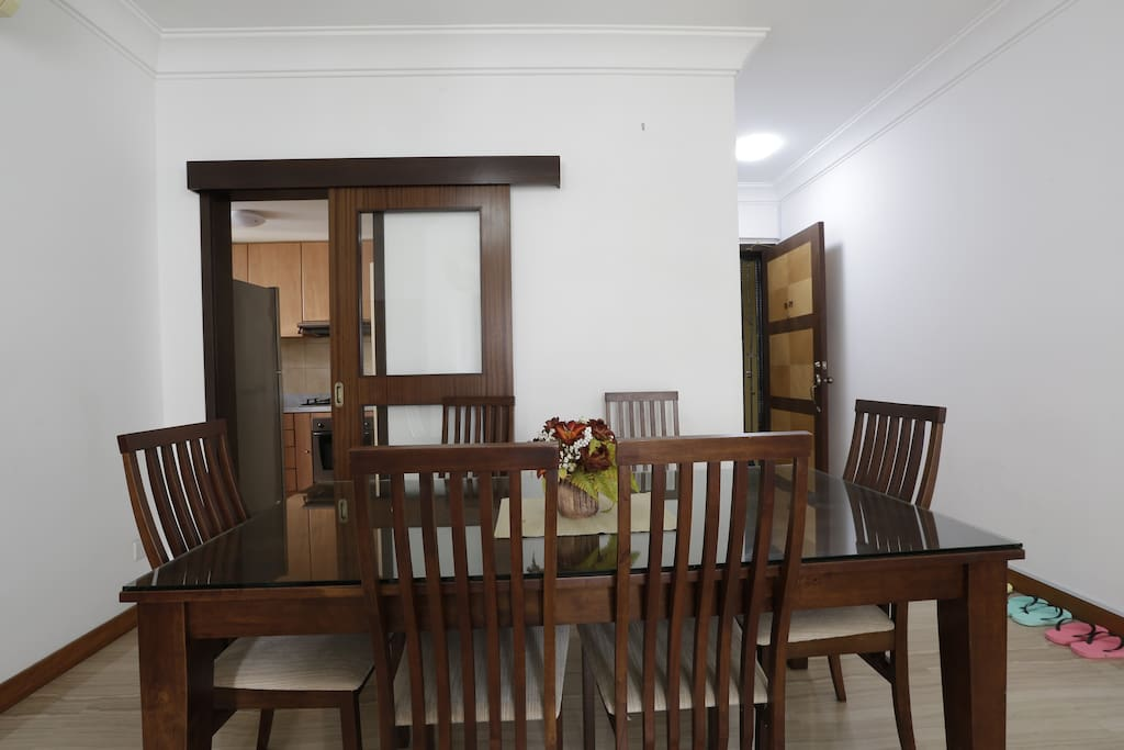 Full dining table set with six chairs.