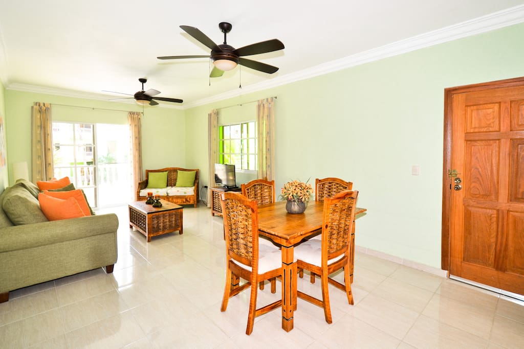 Different view dining living room with main entrance