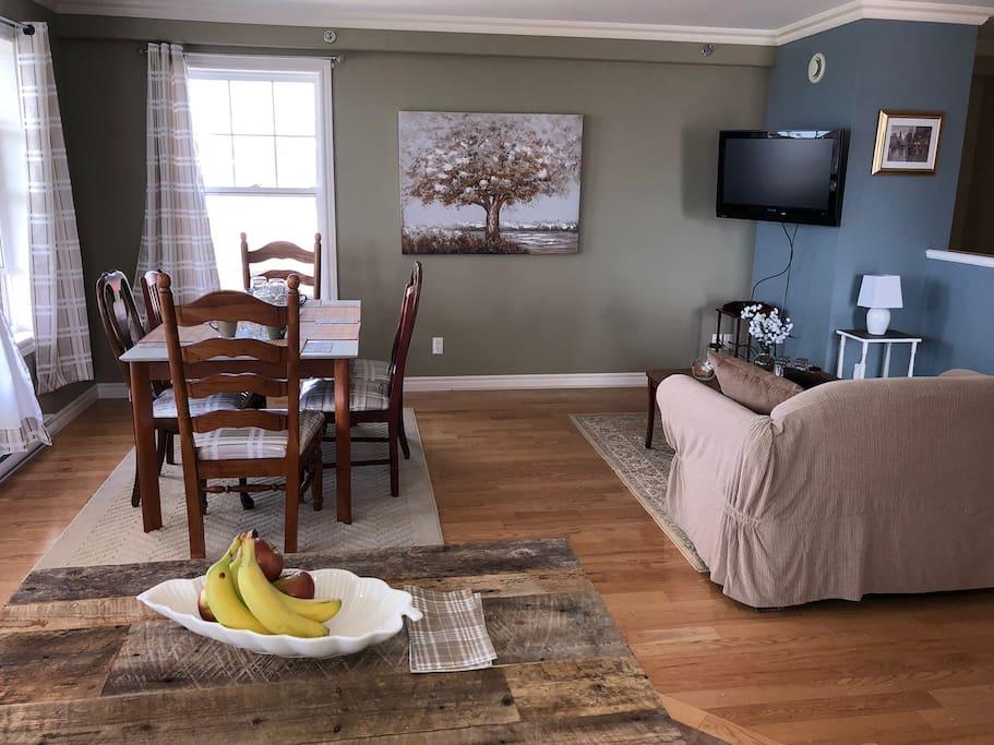 Salon avec une télévision. Living room with a television.