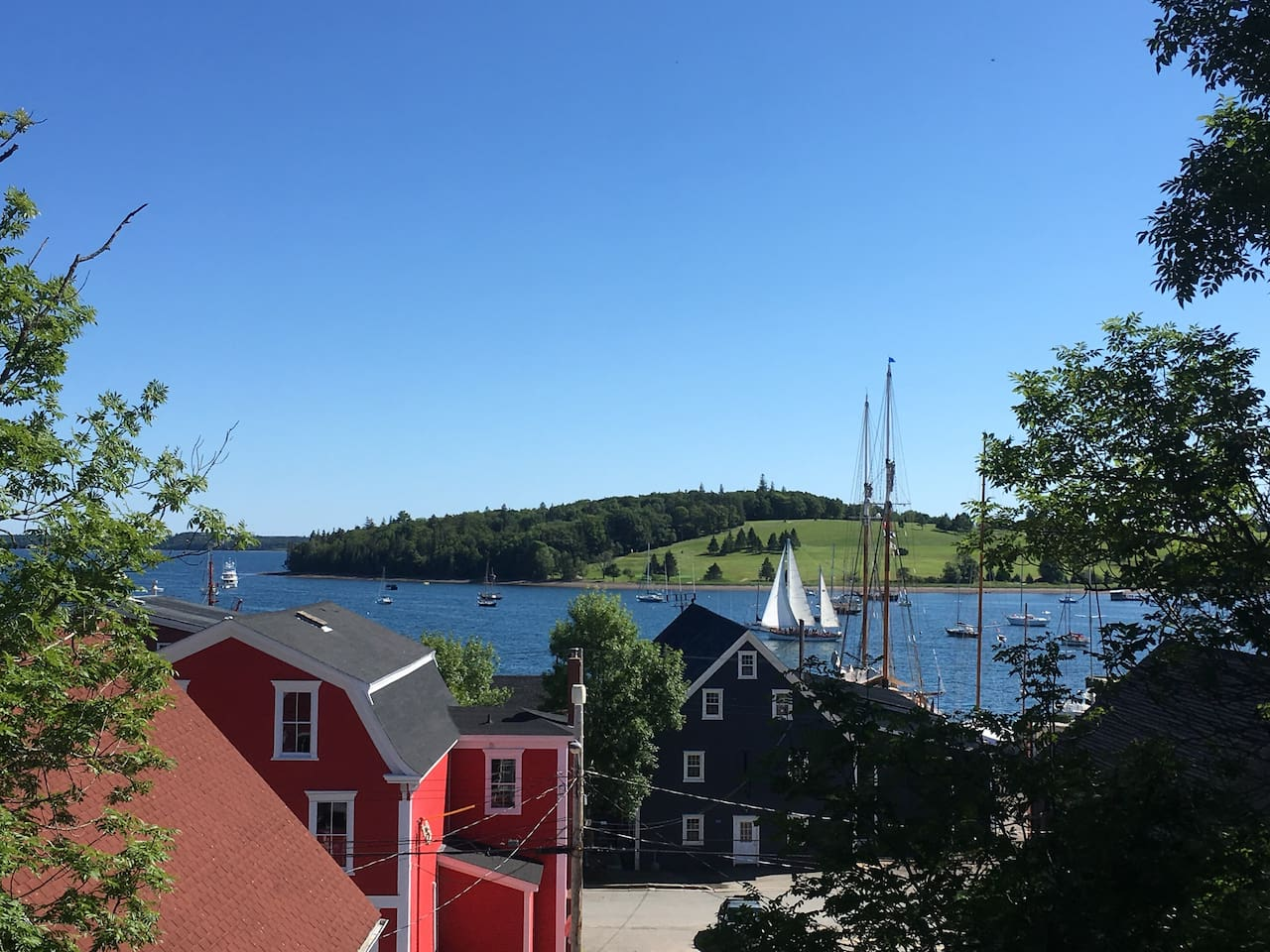 View from the deck, your own private viewing deck for the tall ships coming to town.