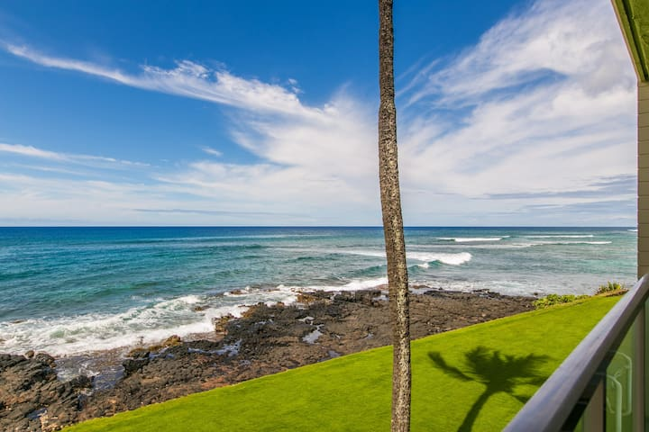 Kuhio Shores 215: Oceanfront, AC, Whale Watching Views Be One Step Closer To Your Kauai Vacation With A Free Midsize Rental Car