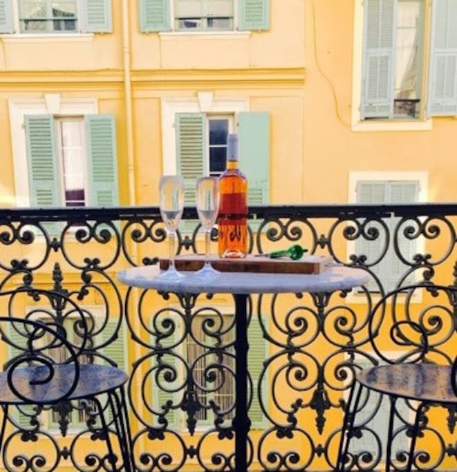 Balcony is perfect for afternoon people watching and an apero.