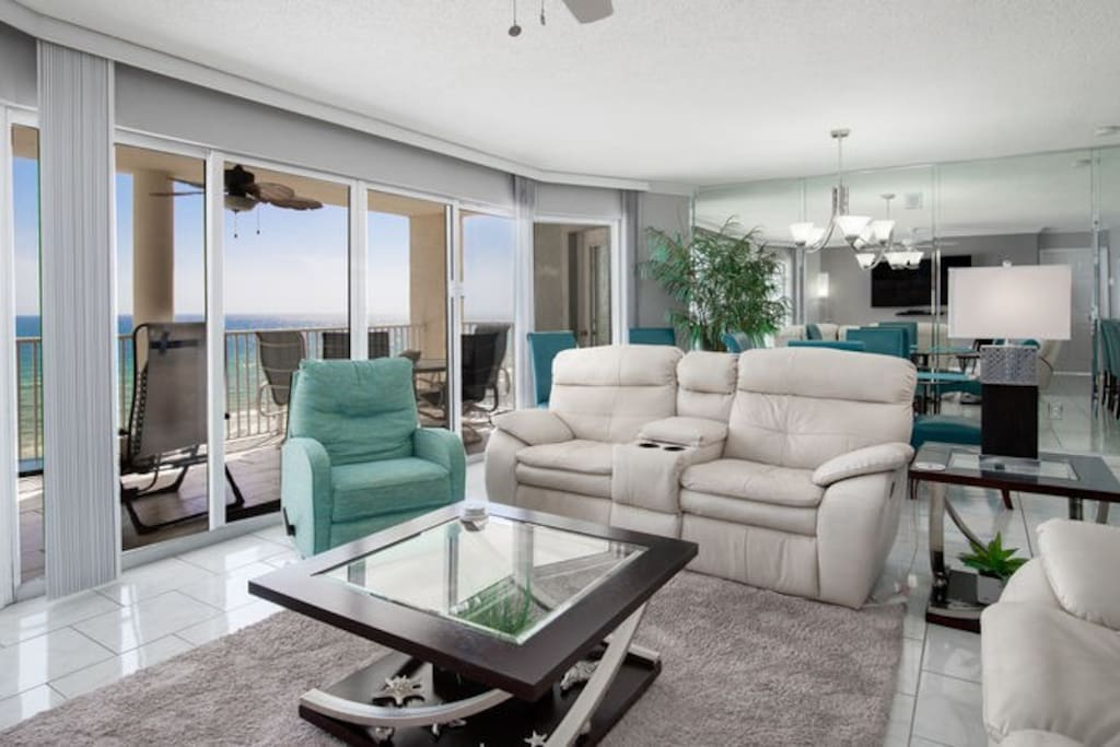 Enjoy panoramic views of the Gulf from the living area!