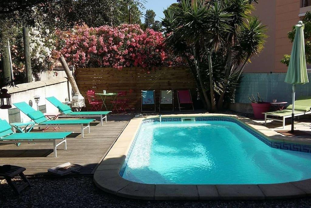 Le coin piscine, plein soleil !
