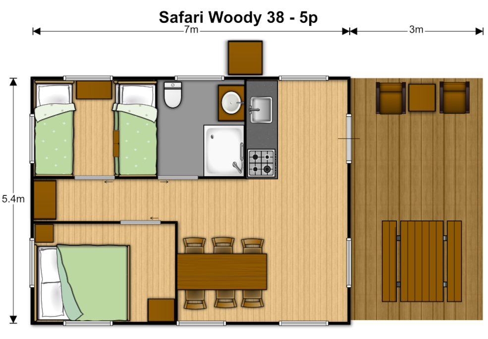 plan of the safaritent Woody 38